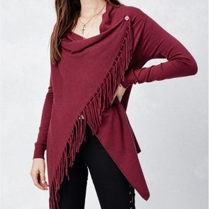 Love Stitch Sz S Boho Burgandy Fringe Sweater